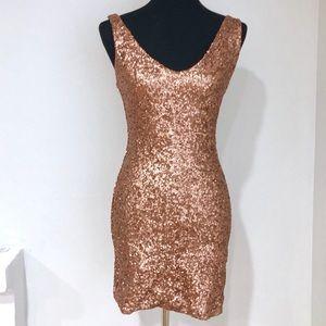 Bella Dona Copper Sequin Dress by BEBE